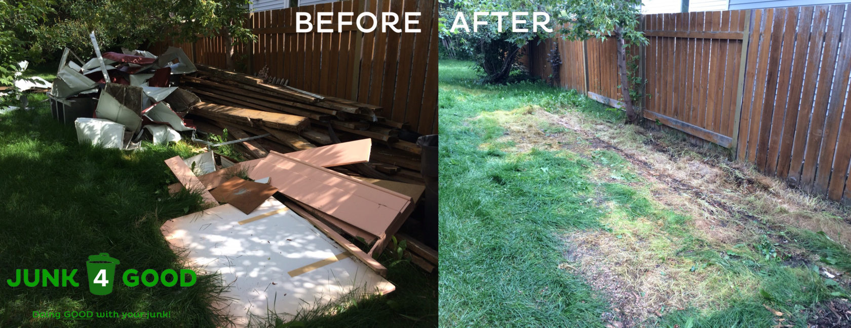 Before And After Photo Of A Pile Of Junk In A Yard, Including Deck Boards